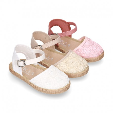 LACES cotton canvas design espadrille shoes with buckle fastening.