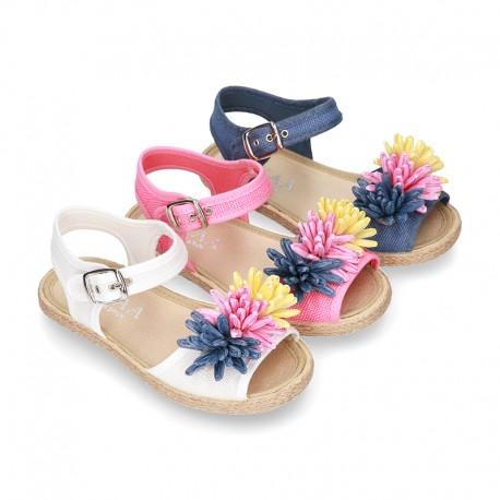 Little LINEN canvas SANDAL shoes espadrille style with FLOWERS design.