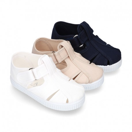 New Cotton Canvas T-strap shoes Sandal style with VELCRO strap closure.