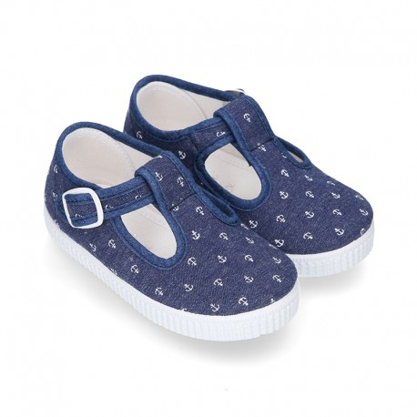 New Cotton Canvas T-strap shoes with ANCHORS design and buckle fastening.
