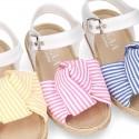 Little LINEN canvas SANDAL shoes espadrille style with STRIPES design.