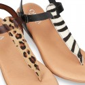 New ANIMAL PRINT leather sandal shoes Gladiator style for toddler girls.