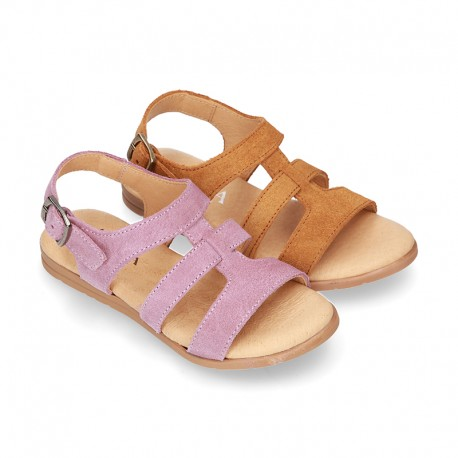 SUEDE leather T-Strap sandal shoes for toddler girls.