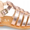 New METAL leather sandal shoes Gladiator style for toddler girls.