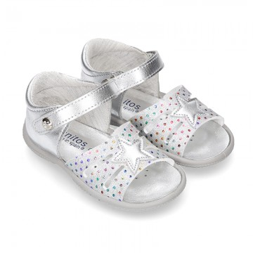 Metal finish leather sandals for little girls with STAR design velcro strap closure and EXTRA FLEXIBLE outsole.