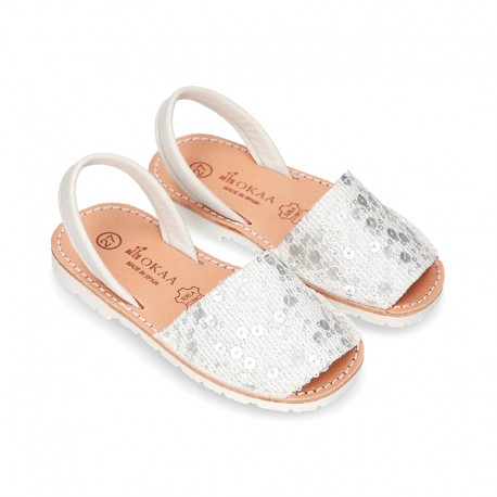 SOFT leather Menorquina sandals with rear strap and SEQUINS design.
