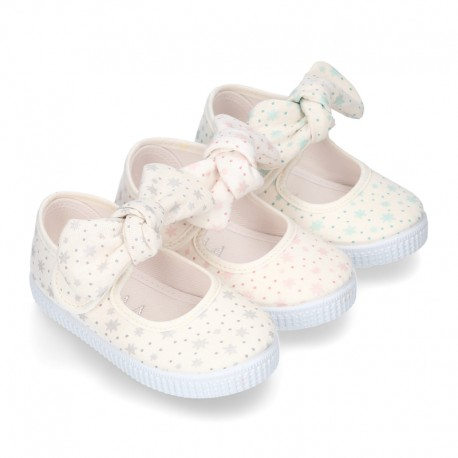 ASTRO design Cotton canvas Little Mary Janes with velcro strap and bow in pastel colors.