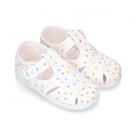 New little TRIANGLES Cotton canvas T-Strap Sandal style shoes.
