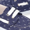 New Cotton Canvas Boat shoes with ANCHORS design and shoelaces.