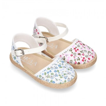 New FLOWERS Cotton canvas little espadrille shoes for girls.
