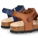New leather sandals BIO style with velcro strap for kids.