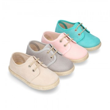 New Serratex canvas Laces up shoes espadrille style in pastel colors.