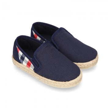 Kids Cotton canvas SLIP ON Espadrille shoes with elastic bands and SQUARE design.