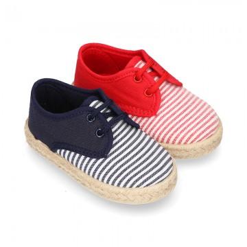 Kids Cotton canvas LACES UP shoes Espadrille style with STRIPES design.
