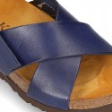 NOBUCK leather sandal shoes for toddler kids with crossed straps and white soles.
