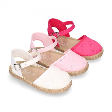 Little cotton canvas espadrille shoes with MAHON style design.