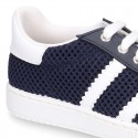 New Washable leather SPRING SUMMER tennis shoes combined with canvas with stripes design.