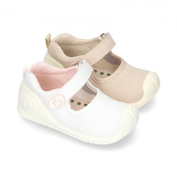 New Cotton canvas little Mary Jane shoes with velcro strap design and reinforced toe cap and counter for first steps.