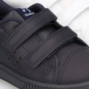 Washable Nappa leather kids sporty shoes laceless and with reinforced toe cap.