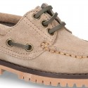 Classic Suede leather Boat shoes with shoelaces and thick soles for kids.