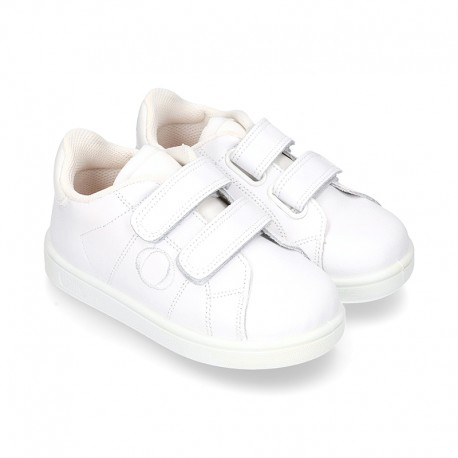 New Okaa Tennis shoes with velcro strap and LEATHER INSOLE.