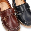 Classic cowhide leather Boat shoes with velcro strap.