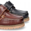 Classic cowhide leather Boat shoes laceless.