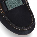 New Classic Suede leather Moccasin shoes with ribbon detail mask.