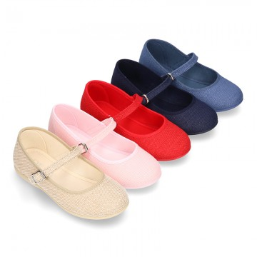 New LINEN canvas Mary Jane shoes with thin buckle fastening.