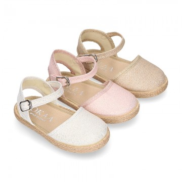 New METAL finish cotton canvas espadrilles shoes for girls.