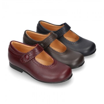 New School Classic Nappa leather little Mary Jane shoes with velcro strap with button and scallop design.