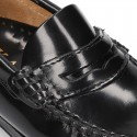 New classic formal Moccasin shoes with detail mask in Antik leather.