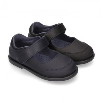 Zapato colegial tipo Mercedita con cierre adherente y puntera en piel lavable para peques.