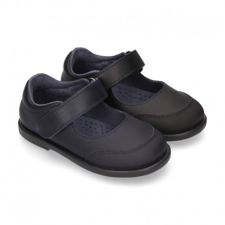 New School shoes Washable leather Mary Janes with velcro strap for little girls.