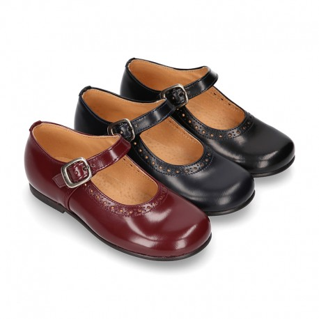 New School Classic SATIN leather little Mary Janes with chopped and design and buckle fastening.