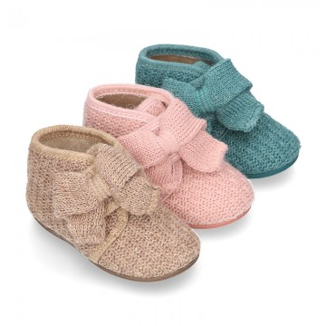 New Wool knit bootie home shoes with velcro strap and BOW design.