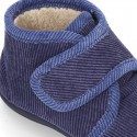 Little corduroy home bootie shoes with velcro strap.