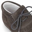 Soft Suede leather little bootie with FRINGED design for babies.