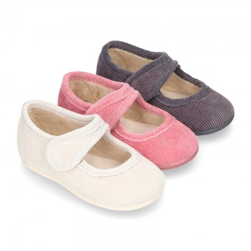 Little corduroy home Mary Jane shoes with velcro strap.