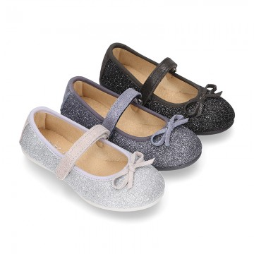 New Autumn Winter METAL Canvas Little Mary Jane shoes with velcro strap.