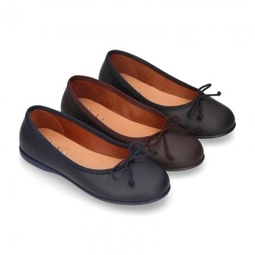Washable Nappa leather Ballet shoes with adjustable ribbon.