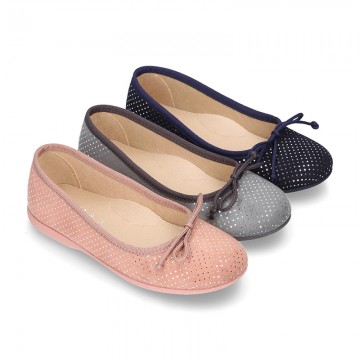 New Autumn winter Ballet flat shoes dots canvas with adjustable bow design.