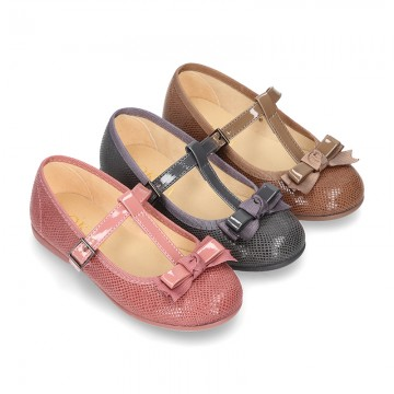 T-strap little Mary Jane shoes with buckle fastening in Print autumn winter canvas.