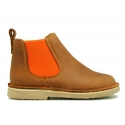 Casual leather ankle boot shoes with elastic band in contrast.