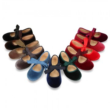 VELVET canvas Ballet flat shoes angel style.