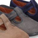 T-STRAP shoes with velcro strap closure in suede leather for kids.