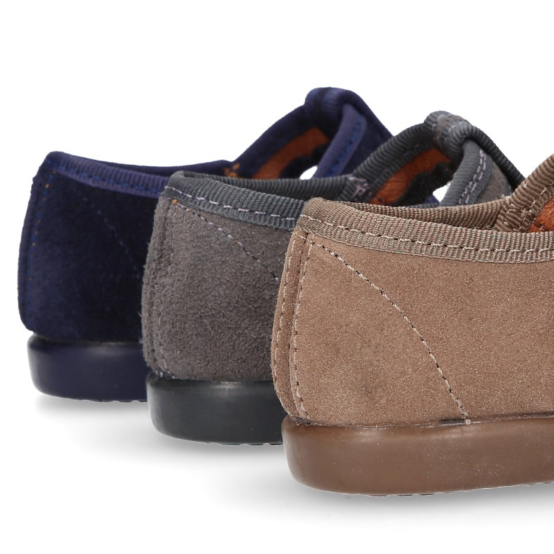 T-STRAP shoes with hook and loop strap closure in suede ...
