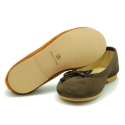 Classic suede leather ballet shoes with adjustable ribbon.