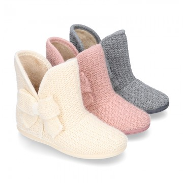 New Wool knit ankle boot home shoes with BOW design.