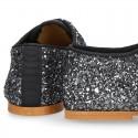 Zapato Niña tipo Blucher estilizado en GLITTER.